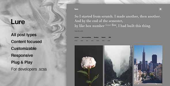 Lure – Grid, Content Focus, Portfolio, Tumblr Theme