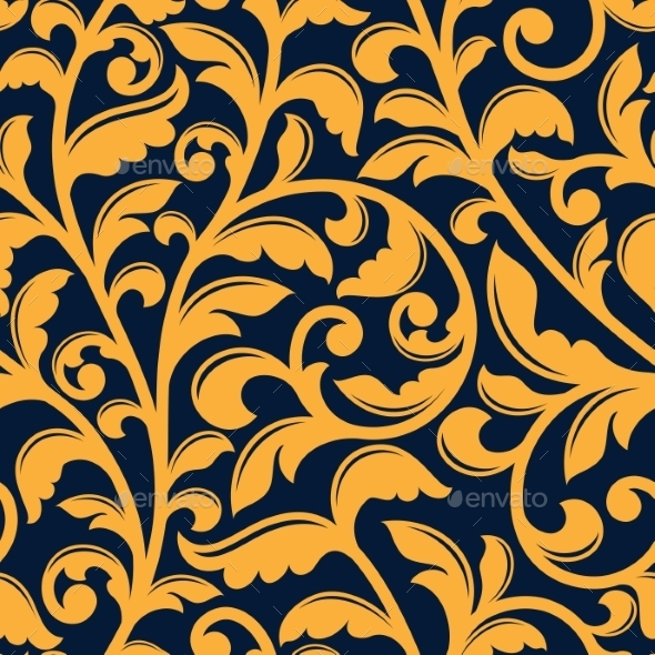 Yellow Floral Seamless Pattern In Baroque Style - Backgrounds Decorative