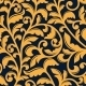 Yellow Floral Seamless Pattern In Baroque Style