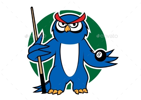 Blue Owl With Pool Cue And Ball - Sports/Activity Conceptual