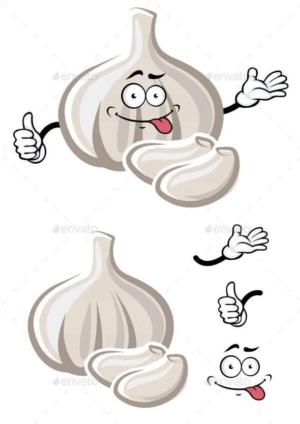 White Garlic Vegetable Cartoon Character - Food Objects