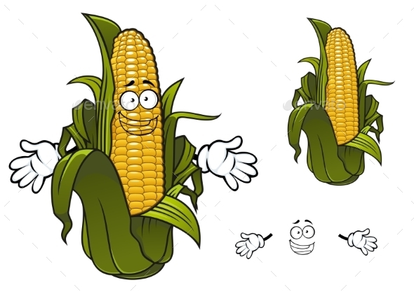 Cartoon Sweet Corn Or Maize Vegetable - Food Objects