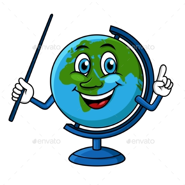 Cartoon Globe Character With Pointer - Objects Vectors