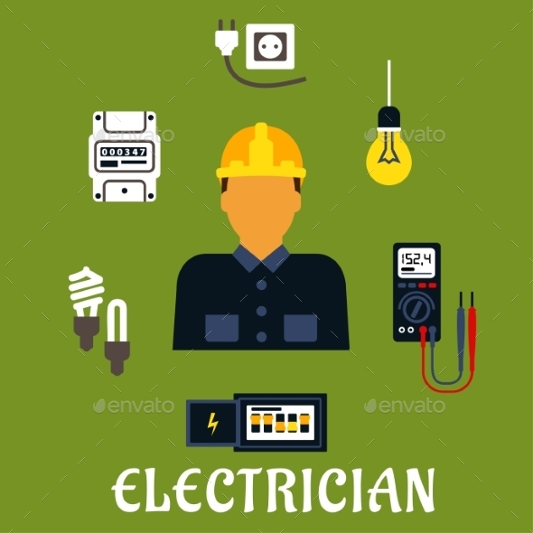 Electrician With Devices And Tools - Industries Business