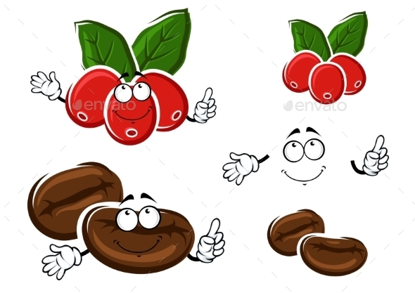Coffee Berries And Beans Cartoon Characters - Food Objects