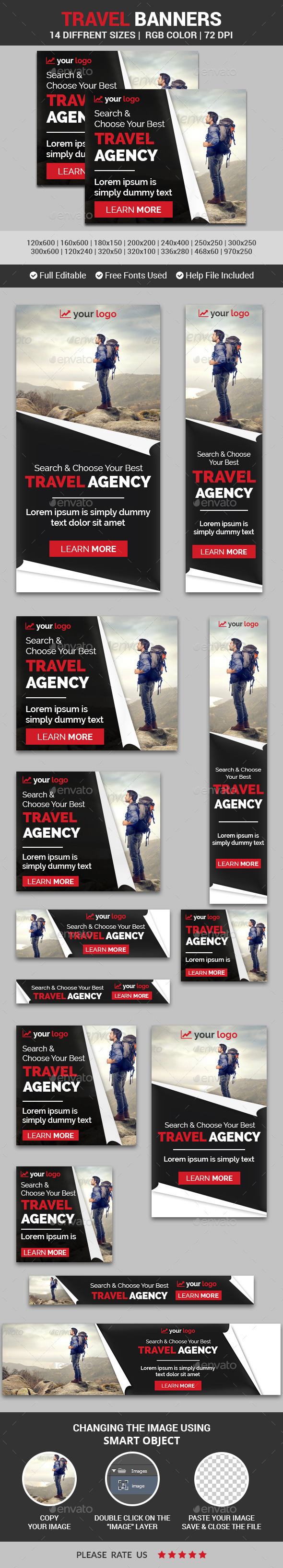 Travel Banners v7 - Banners & Ads Web Elements