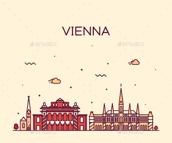 Vienna Skyline Trendy Vector Illustration Linear - Travel Conceptual