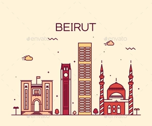 Beirut Skyline Trendy Vector Illustration Linear - Landscapes Nature