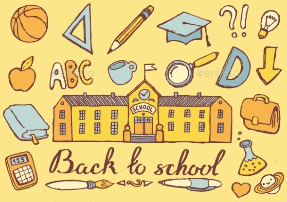 Back To School Hand Drawn Vector Illustration - Backgrounds Decorative