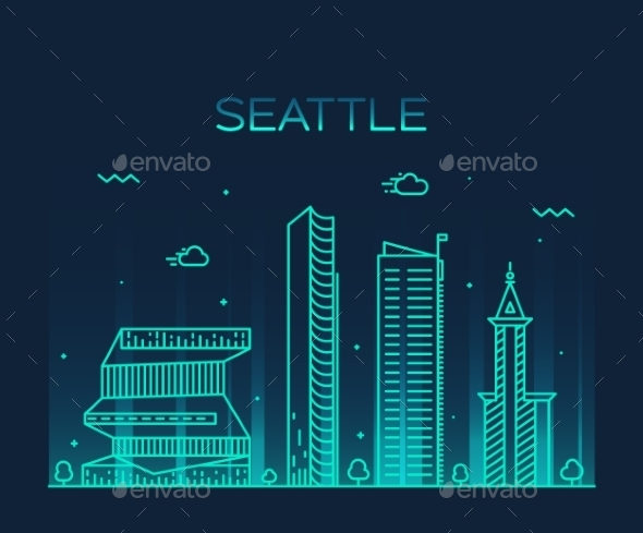 Seattle Skyline Trendy Vector Illustration Linear - Landscapes Nature