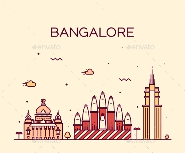 Bangalore Skyline Vector Illustration Linear