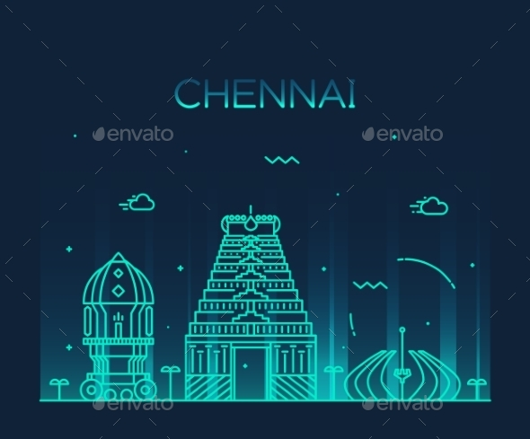 Chennai Skyline Trendy Vector Illustration Linear