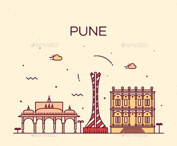 Pune Skyline Trendy Vector Illustration Linear - Landscapes Nature