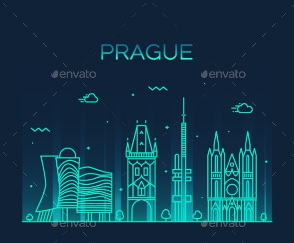 Prague Skyline Trendy Vector Illustration Linear
