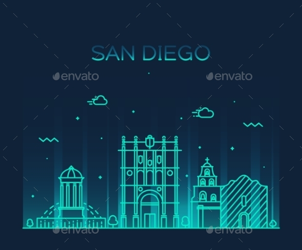 San Diego Skyline Vector Illustration Linear - Travel Conceptual