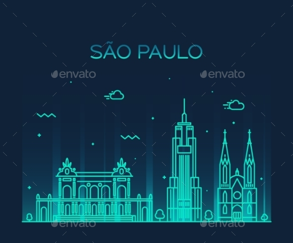 Sao Paulo Skyline Trendy Vector Linear Style - Landscapes Nature