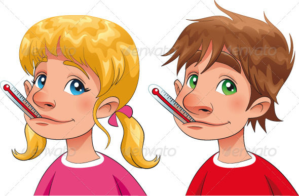 Boy and Girl with Thermometer - Health/Medicine Conceptual