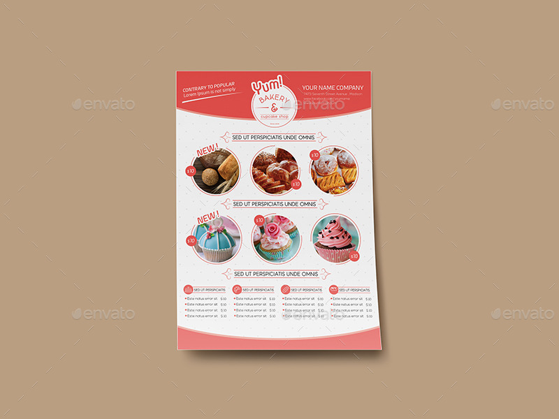 bakery cupcake shop flyer template by wutip2 graphicriver. Black Bedroom Furniture Sets. Home Design Ideas