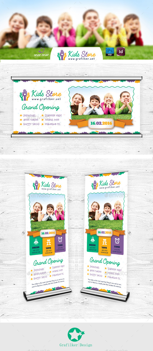 Kids Store Billboard & Roll-Up Templates - Signage Print Templates