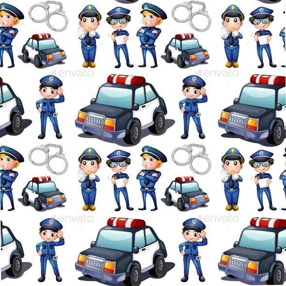 Seamless Design with Policemen and Patrol Cars - People Characters