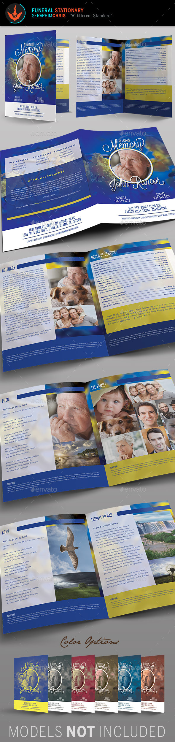 Premium Blue Funeral Program Template - Informational Brochures