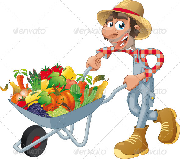 Peasant with wheelbarrow, vegetables and fruits.  - Food Objects