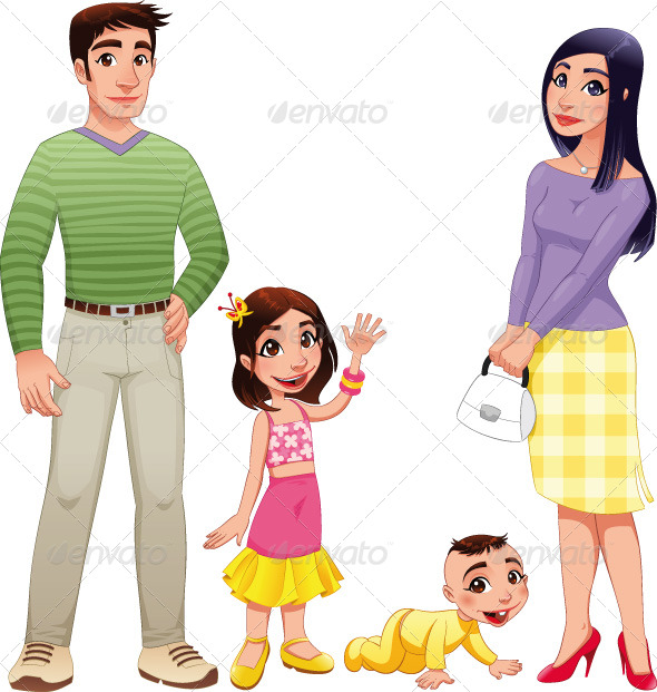 Human family with mother, father and children. - Characters Vectors