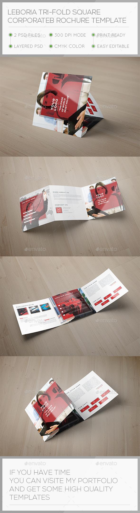 Leboria Tri-fold Square Brochure Template - Corporate Brochures