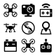 Quadcopter And Drone Icons Set On White Background - GraphicRiver Item for Sale