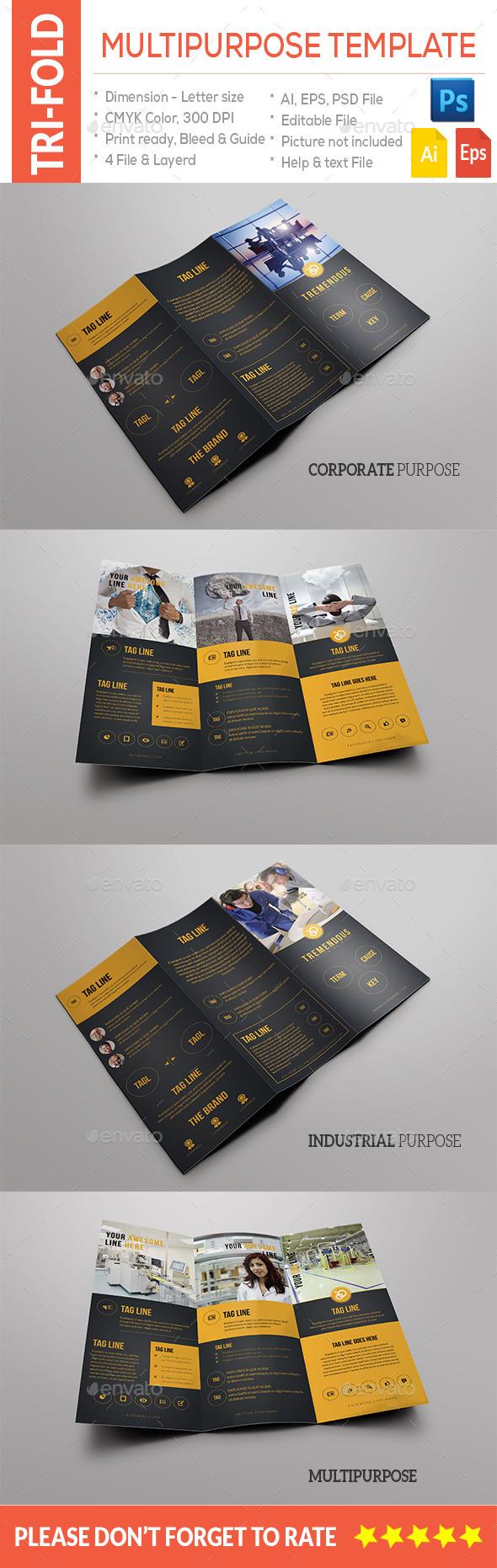 Multipurpose Tri-Fold Template - Brochures Print Templates