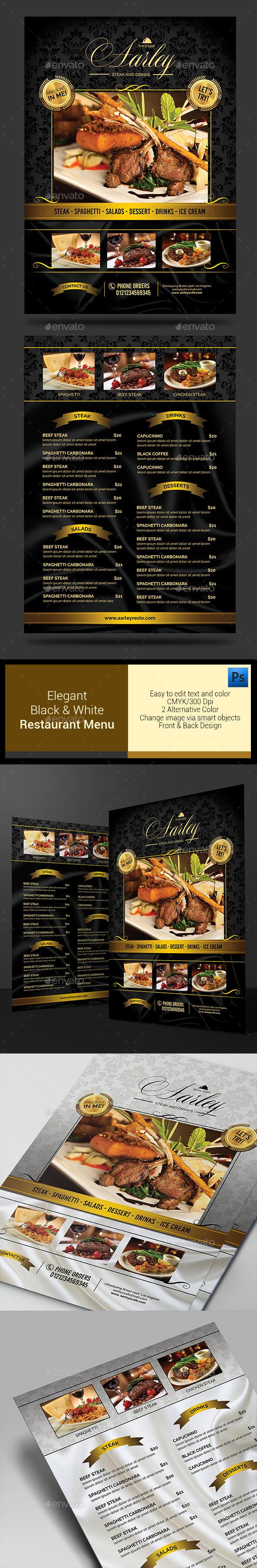 Elegant Black & White Restaurant Menu - Food Menus Print Templates