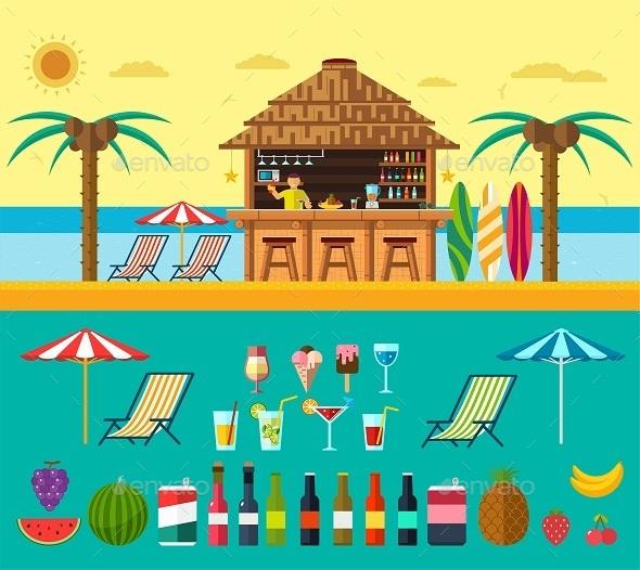Tropical Beach with a Bar on the Beach - Travel Conceptual