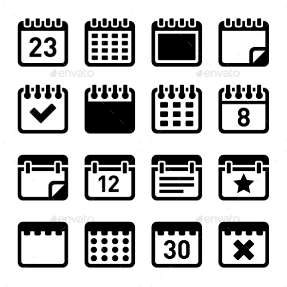 Calendar Icons Set - Web Icons