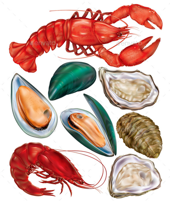 Set of Seafood - Food Objects
