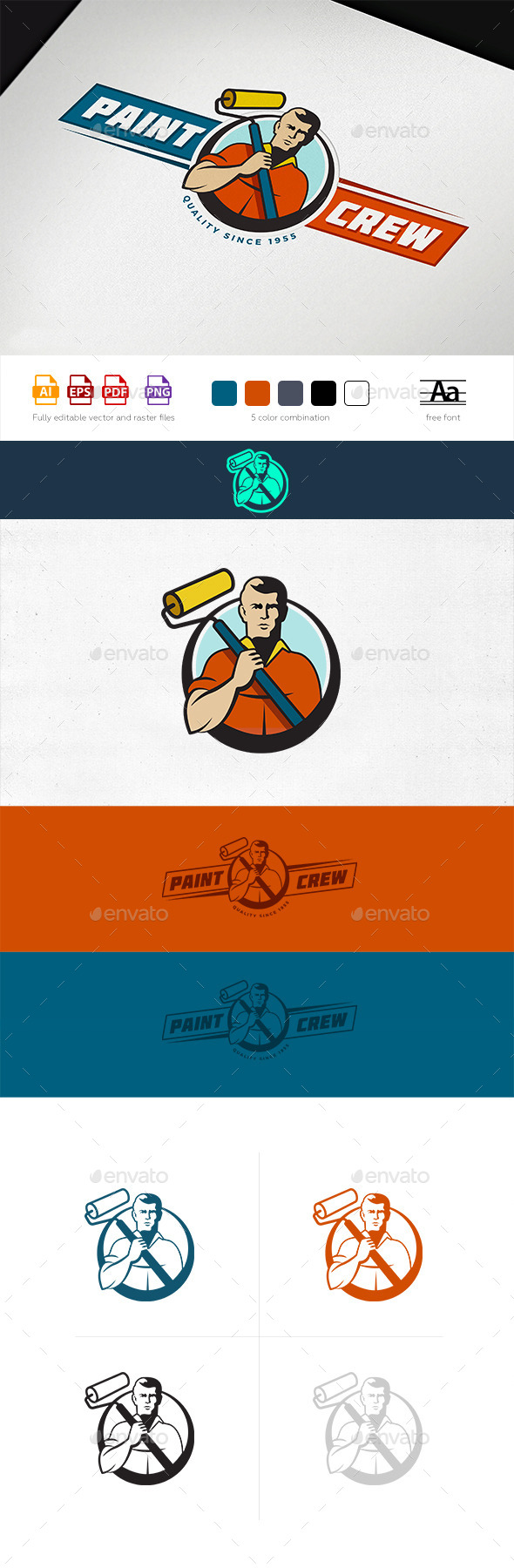 Paint Crew Logo Template - Humans Logo Templates