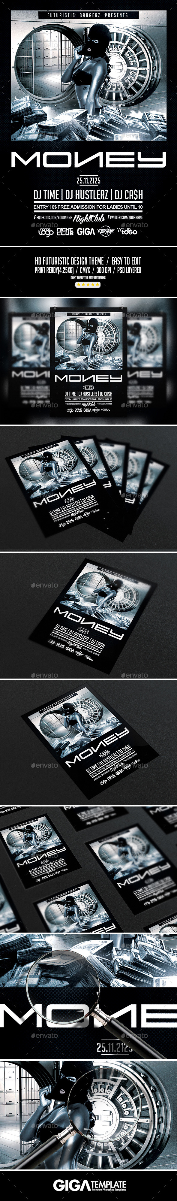 Money Time | Hip-Hop Night Dark Flyer PSD Template - Events Flyers