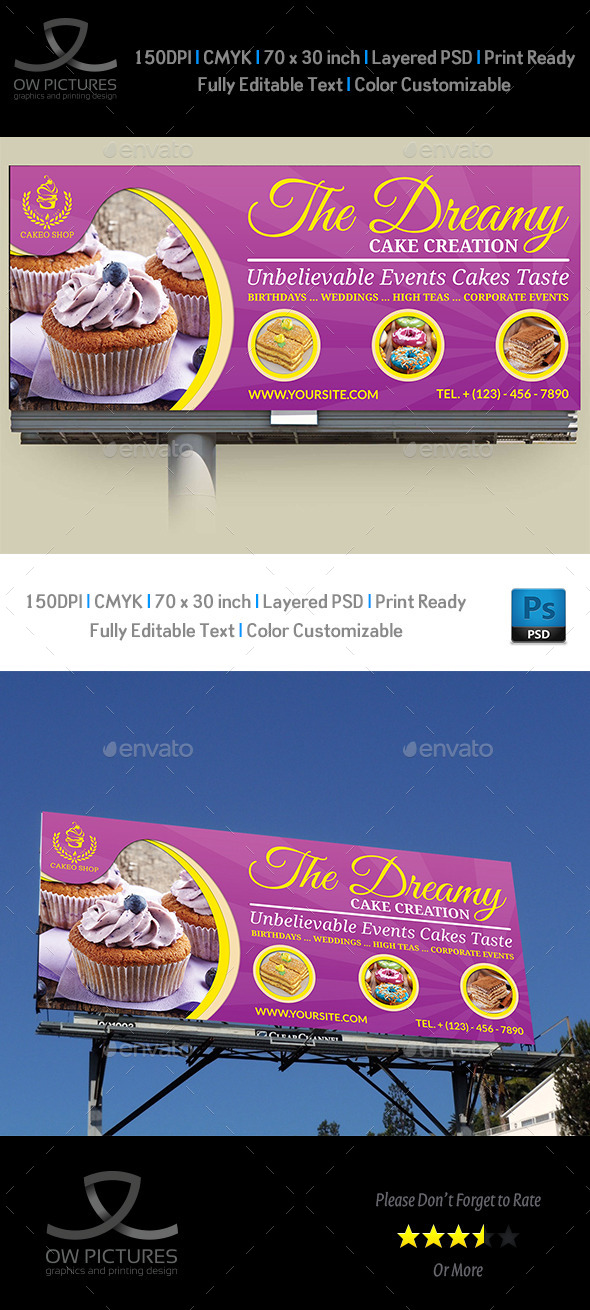 Cake Billboard Template Vol.3 - Signage Print Templates