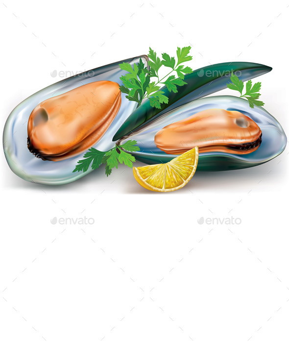 Mussels with Lemon - Food Objects