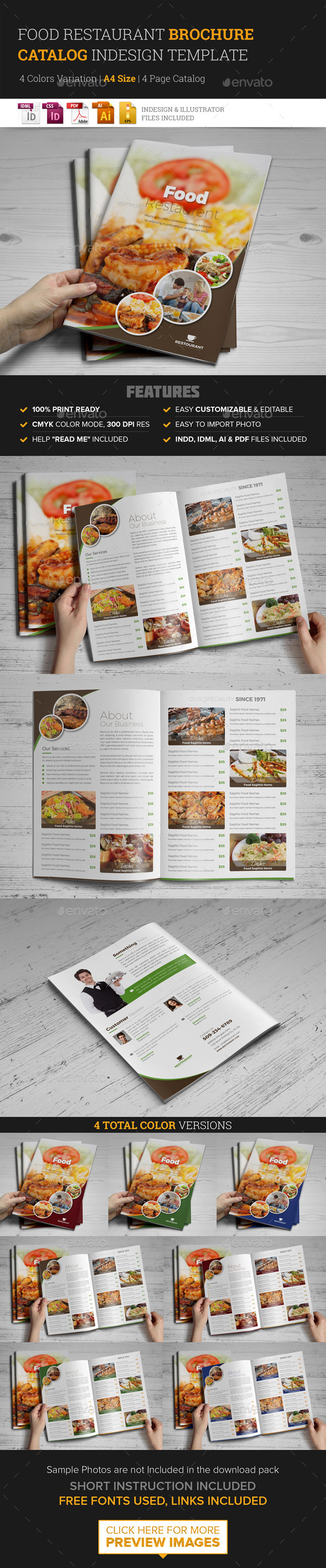 Food Restaurant Bifold Brochure InDesign Template - Corporate Brochures
