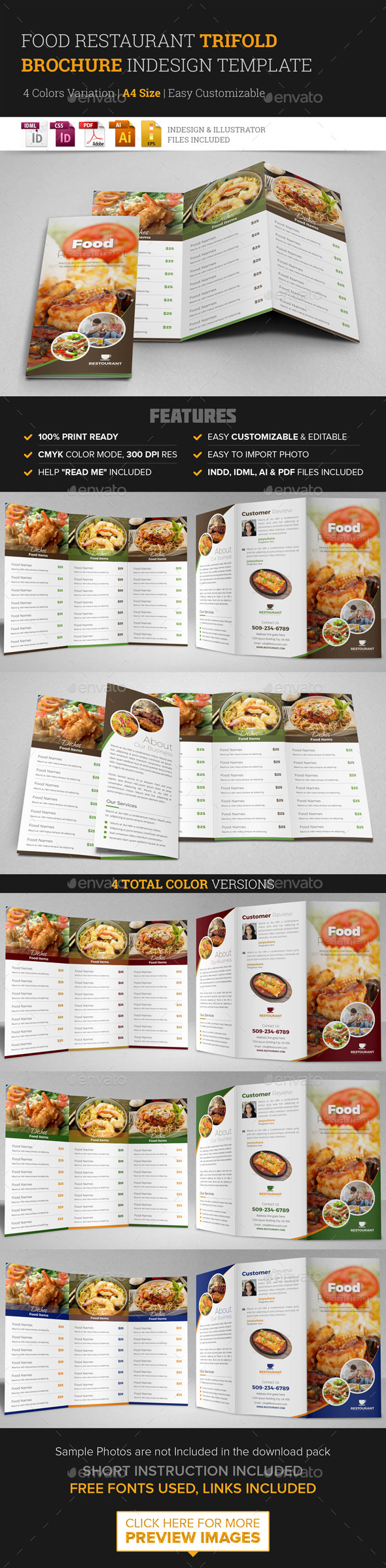 Food Restaurant Trifold Brochure InDesign Template - Corporate Brochures