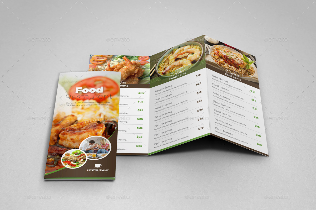 food brochure templates - food restaurant trifold brochure indesign template by