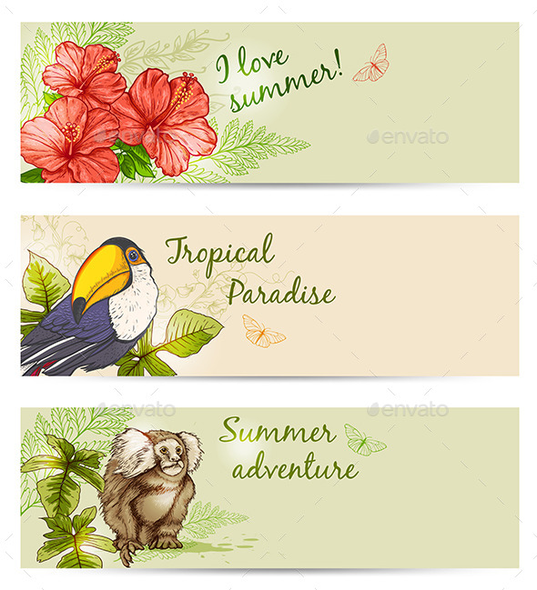 Summer Tropical Banners - Animals Characters