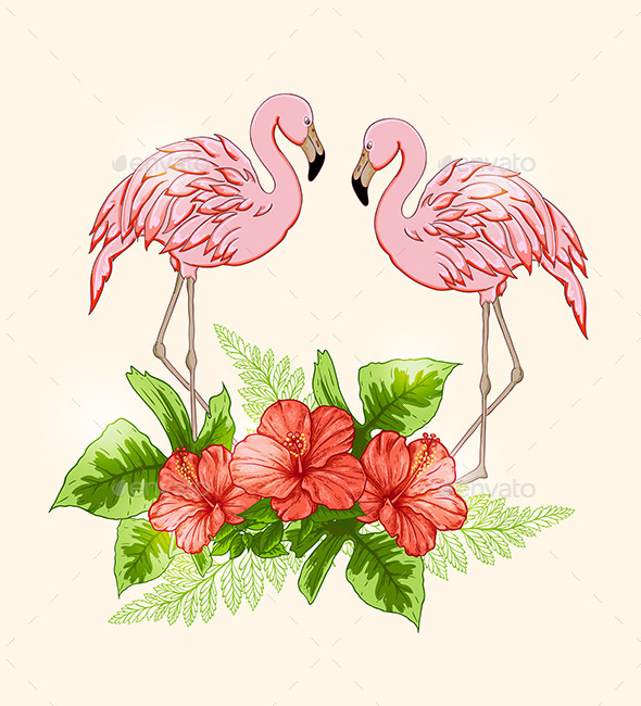 Background with Flowers and Pink Flamingo - Animals Characters