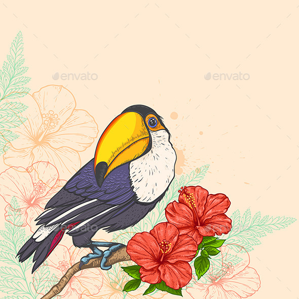 Background with Flowers and Toucan - Animals Characters