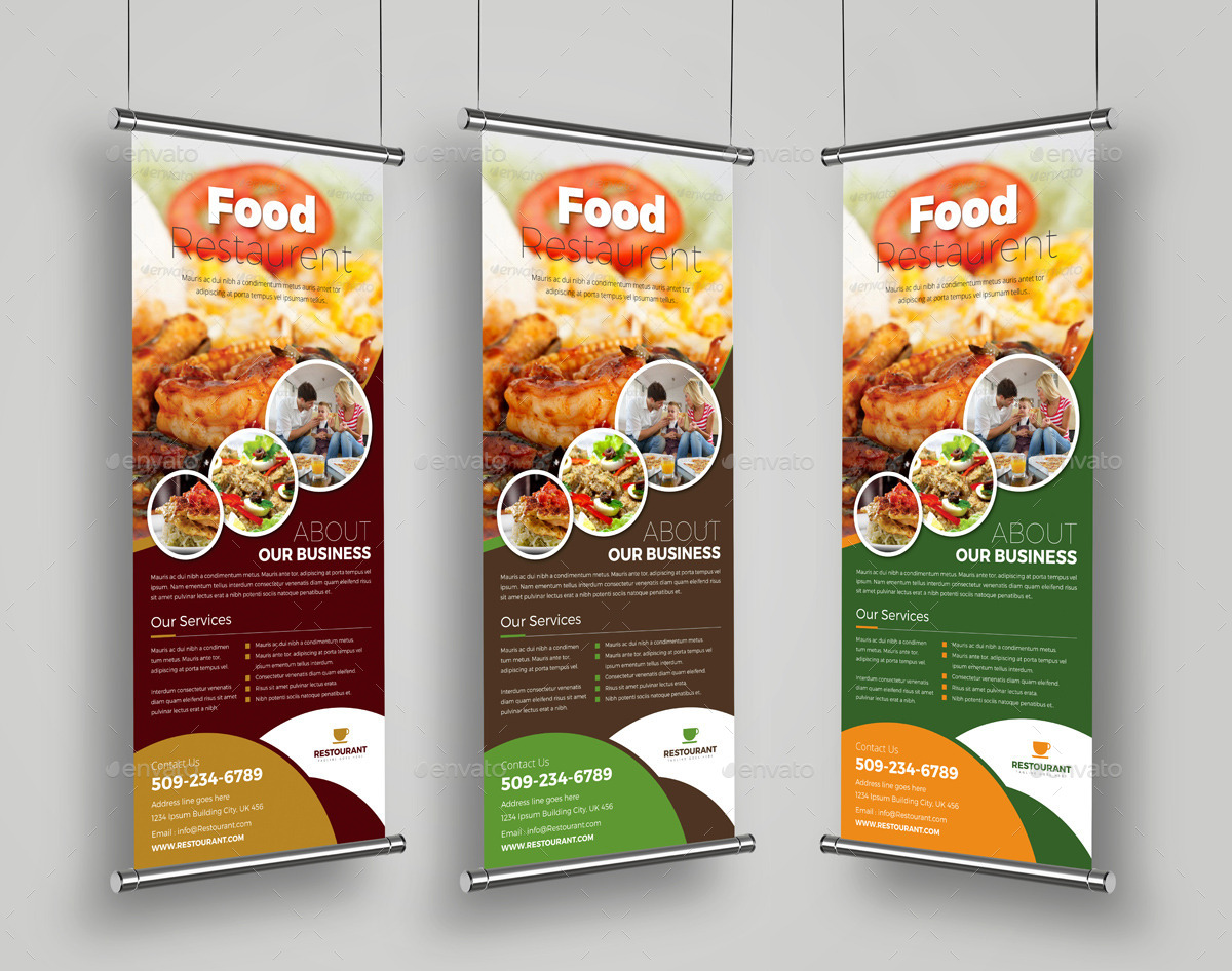 food restaurant roll up banner signage template by janysultana