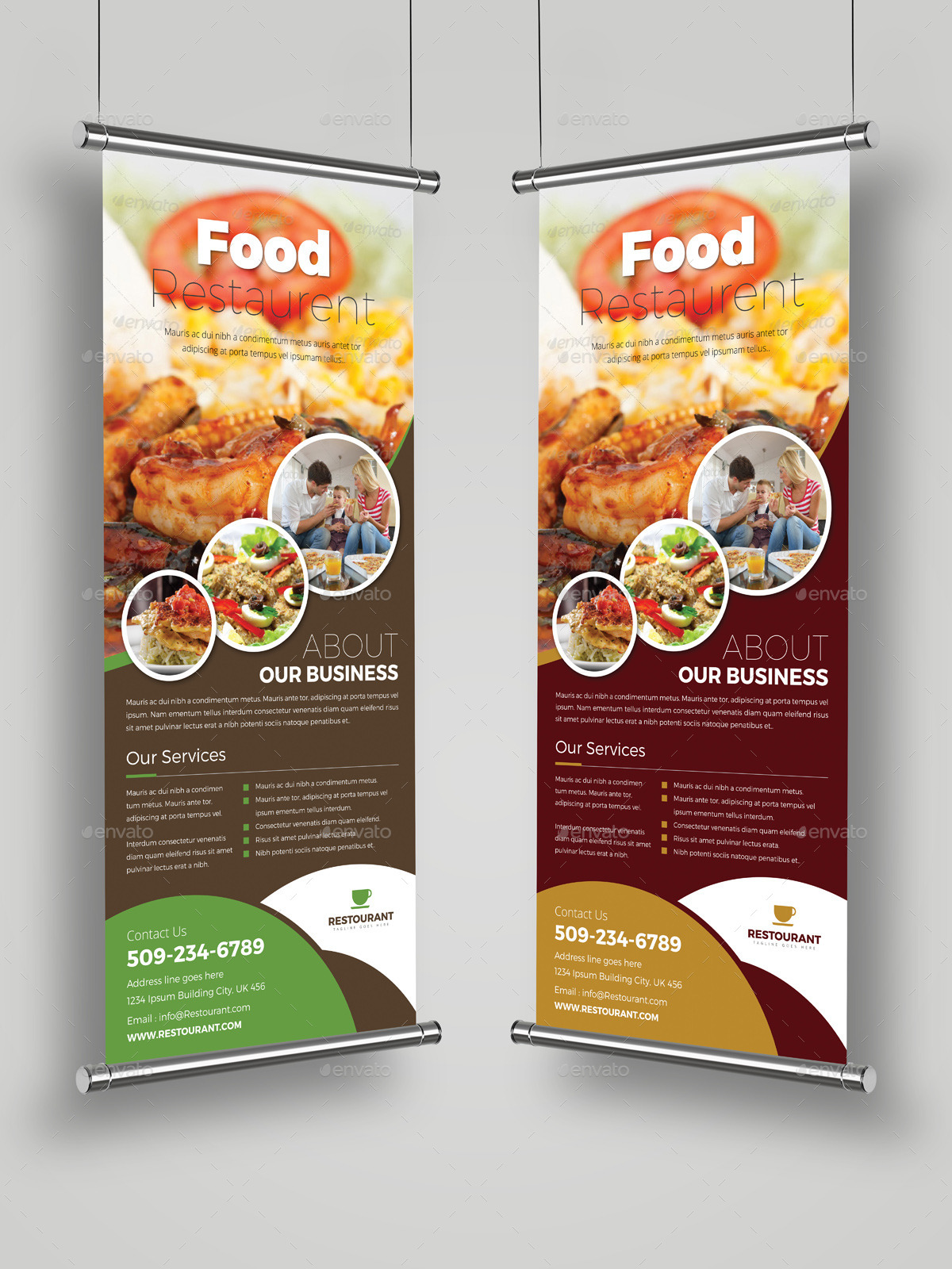 Food Restaurant Roll Up Banner Signage Template By