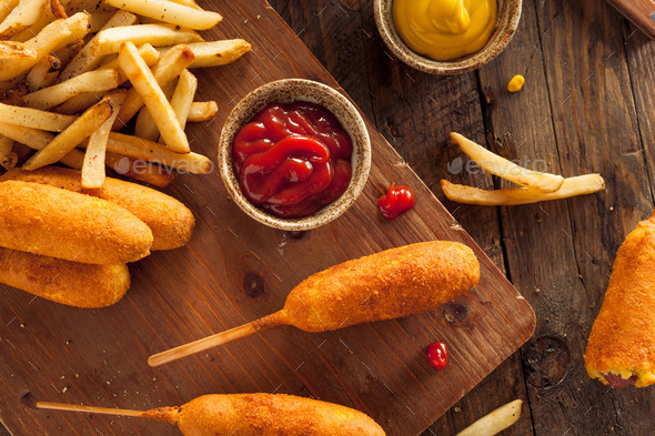Homemade Organic Corn Dogs - Stock Photo - Images