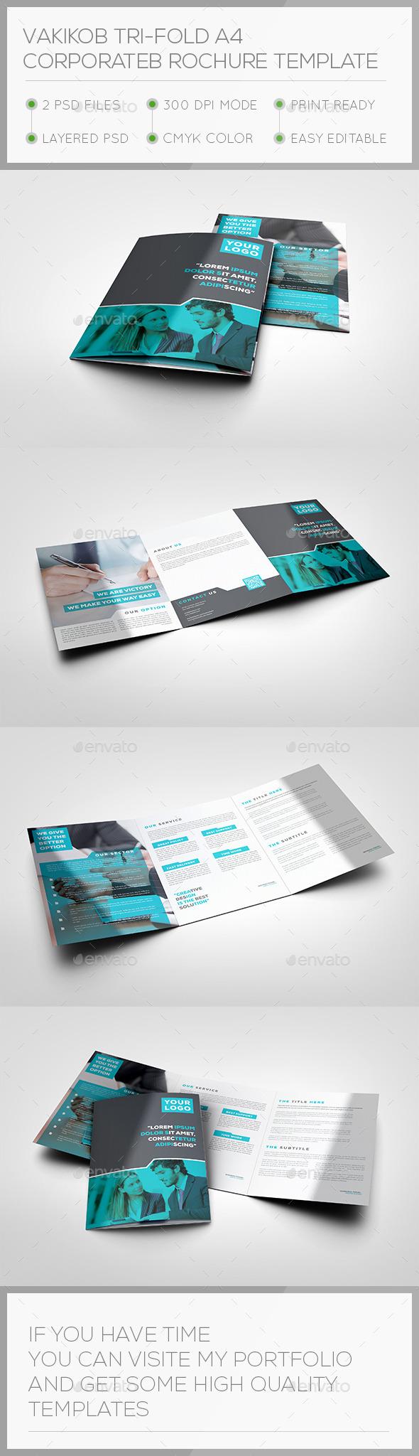 Vakikob Tri-fold A4 Corporate Brochure Template - Brochures Print Templates