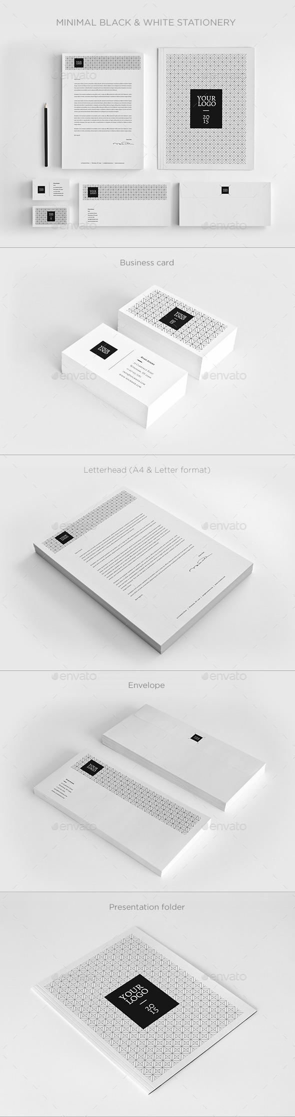 Minimal Black & White Stationery - Stationery Print Templates