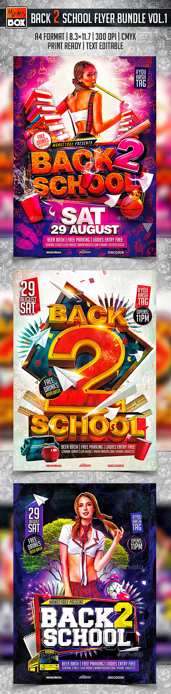 Back 2 School Flyer Bundle Vol.1 - Events Flyers
